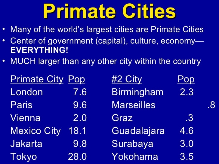 rank-size rule  primate city  central place theory